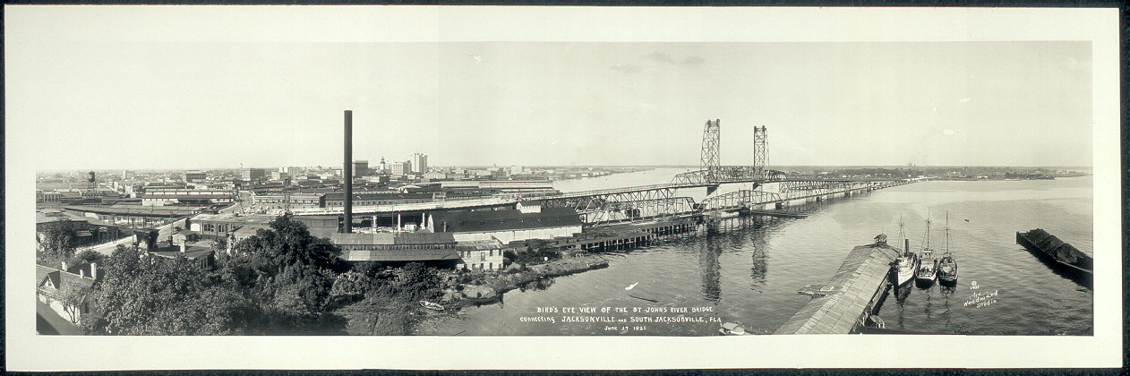 Bird's eye view of the St. Johns River Bridge connecting Jacksonville and South Jacksonville, Fla., June 27, 1921