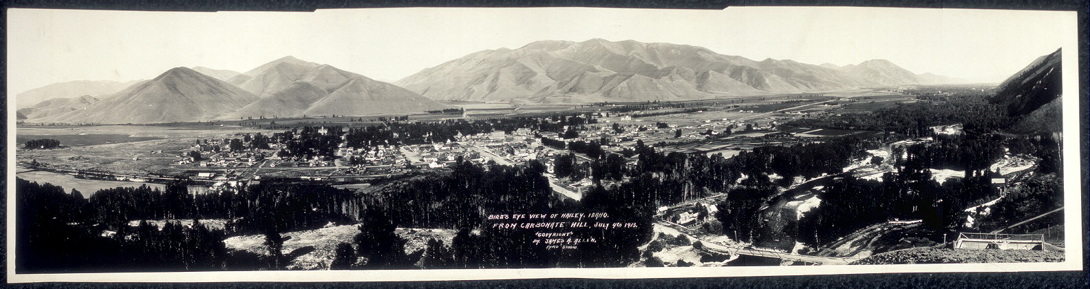 Bird's eye view of Hailey, Idaho, from Carbonate Hill, July 4th, 1913