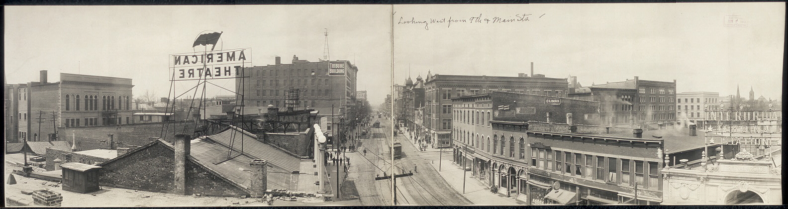 Looking west from 9th & Main Sts.