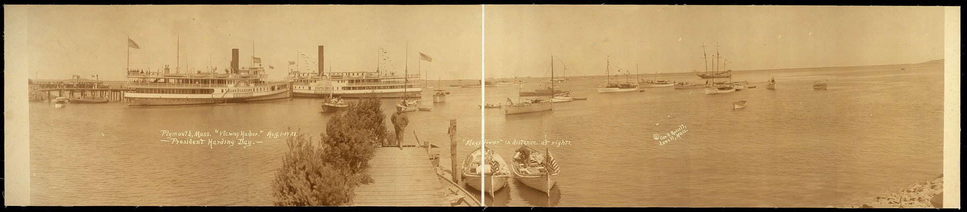 "Plymouth, Mass., ""View of harbor"", Aug. 1, 1921, President Harding Day."