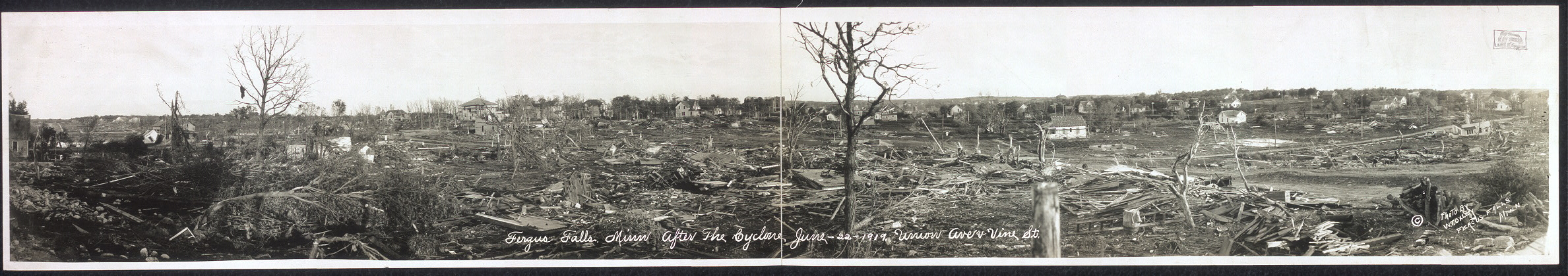 Fergus Falls, Minn. after the cyclone, June 22, 1919, Union Ave. & Vine St.