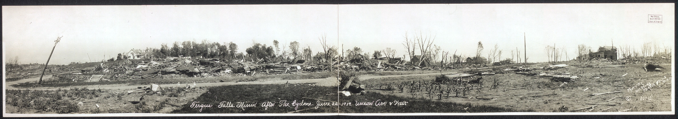 Fergus Falls, Minn. after the cyclone, June 22, 1919, Union Ave. & West