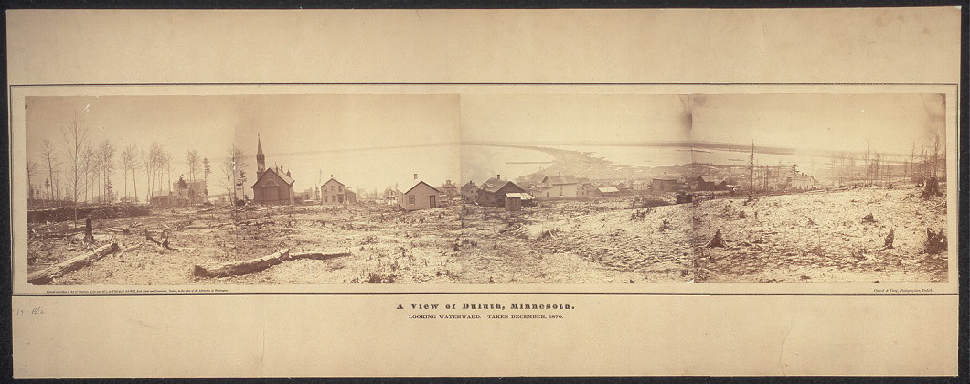 A view of Duluth, Minnesota; looking waterward; taken December, 1870