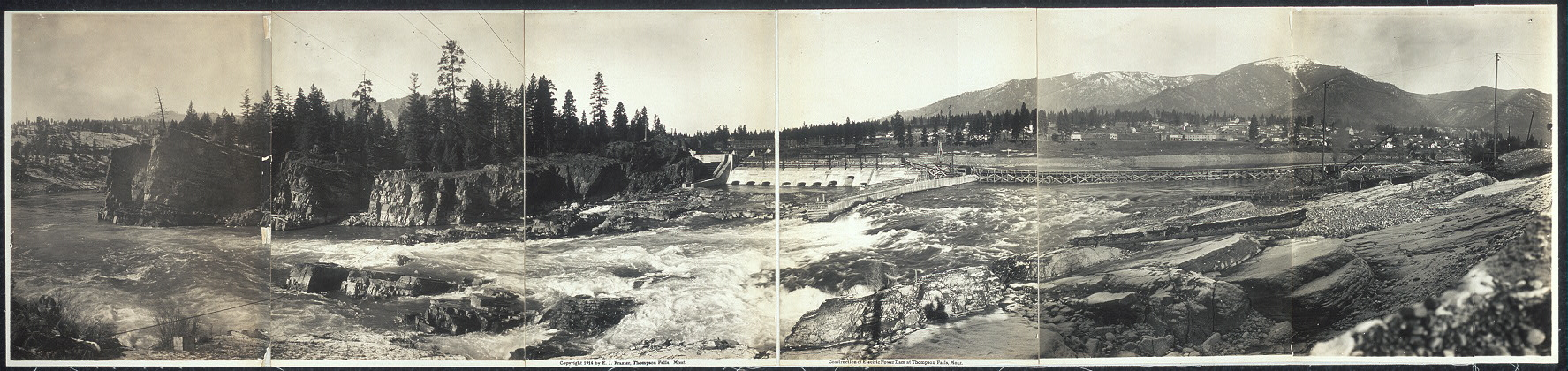 Construction of electric power dam at Thompson Falls, Mont.