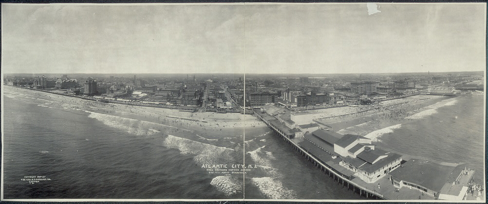Atlantic City, N.J. from Lawrence Captive Airship, 500 feet above boardwalk, 1909