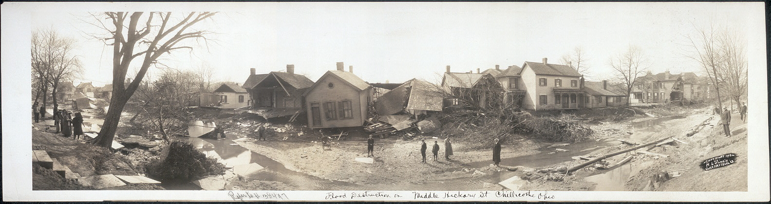 Flood destruction on Middle Hickory St., Chillicothe, Ohio