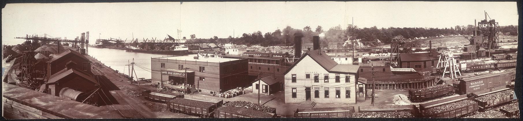 Panoramic photograph of Conneaut Harbor