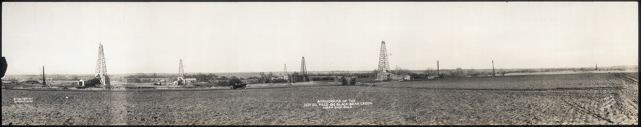 A panorama of the Hoy oil field on Black Bear Creek near Enid, Okla.