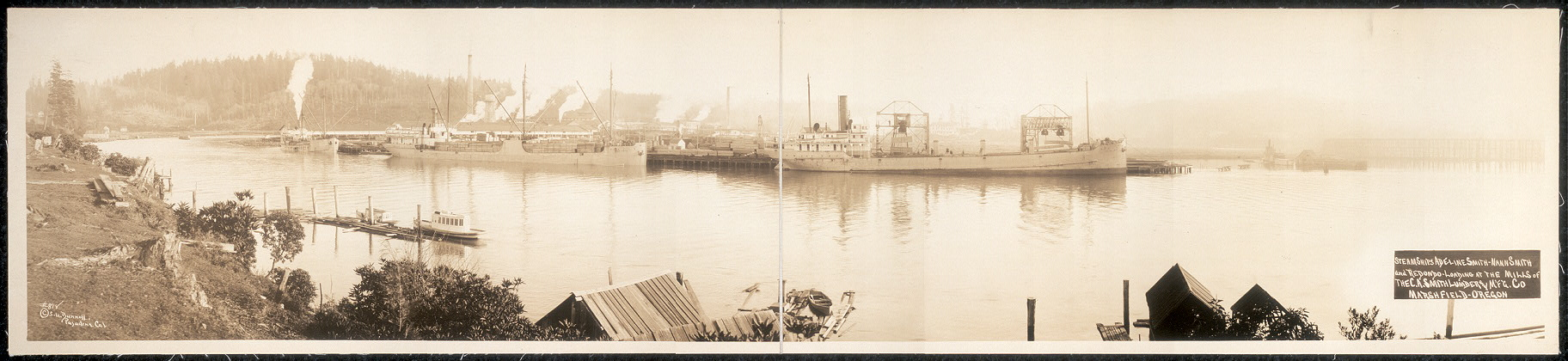 Steamships Adeline Smith, Nann Smith and Redondo loading at the mills of the C. A. Smith Lumber and M'f'g. Co., Marshfield, Oregon