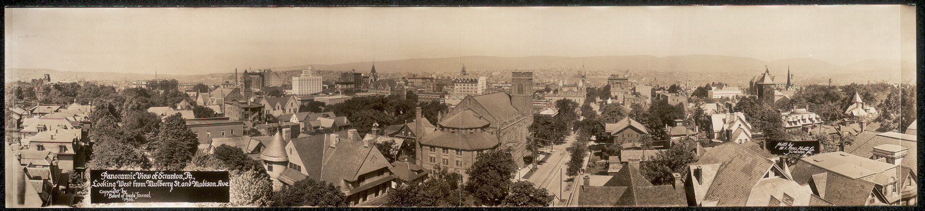 Panoramic view of Scranton, Pa., looking west from Mulberry St. and Madison Ave.