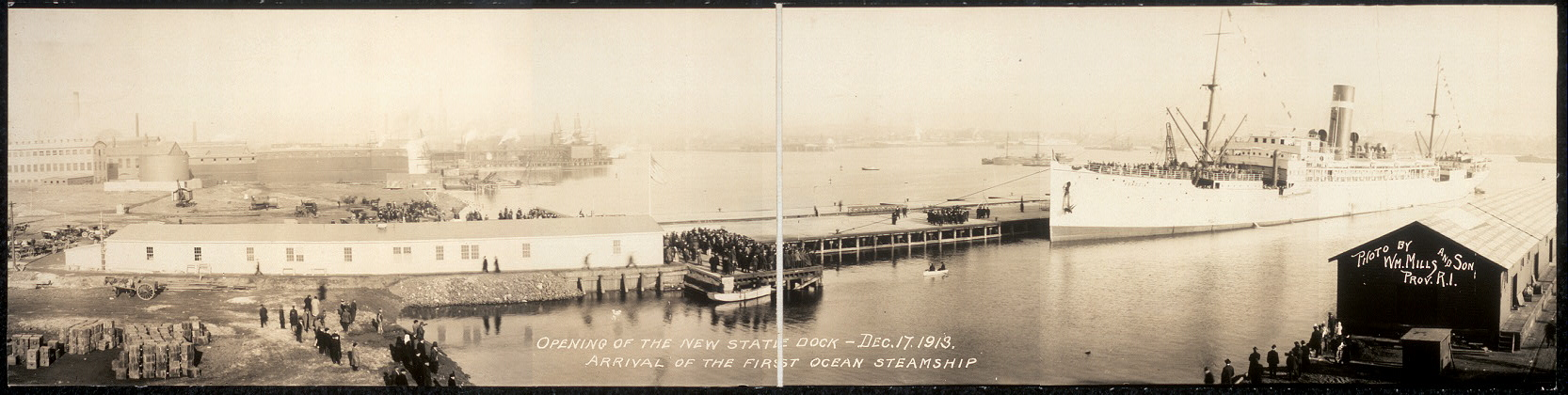 Opening of the new state dock, Dec. 17, 1913, arrival of the first ocean steamship