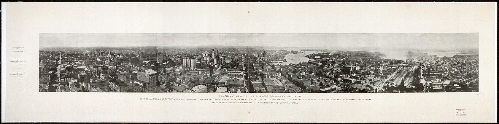 "Panoramic view of the business section of Baltimore, one of America's greatest and most promising commercial cities, where, in September, 1914, will be held a big national celebration in honor of the birth of the ""Star-Spangled banner"""