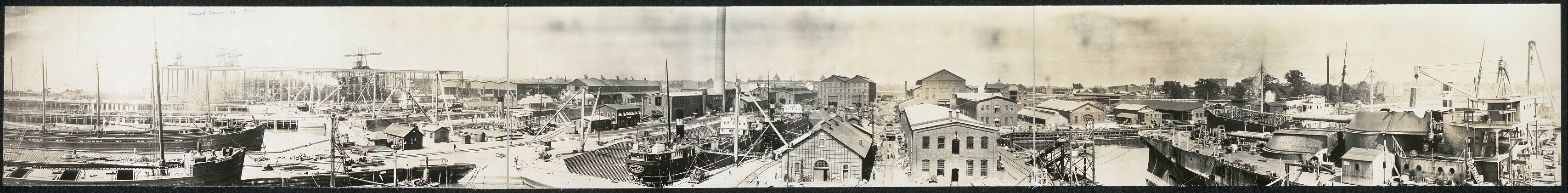 Waterfront view of plant of Newport News Shipbuilding & Dry Dock Co., Newport News, Va.