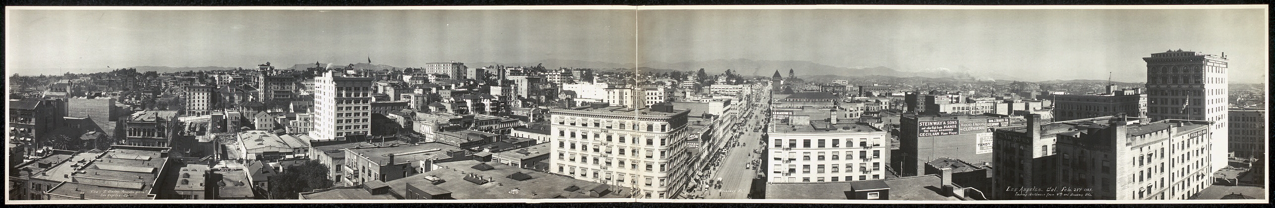 Los Angeles, Cal., Feb. 23rd, 1909, looking northwest from 4th and Broadway Sts.