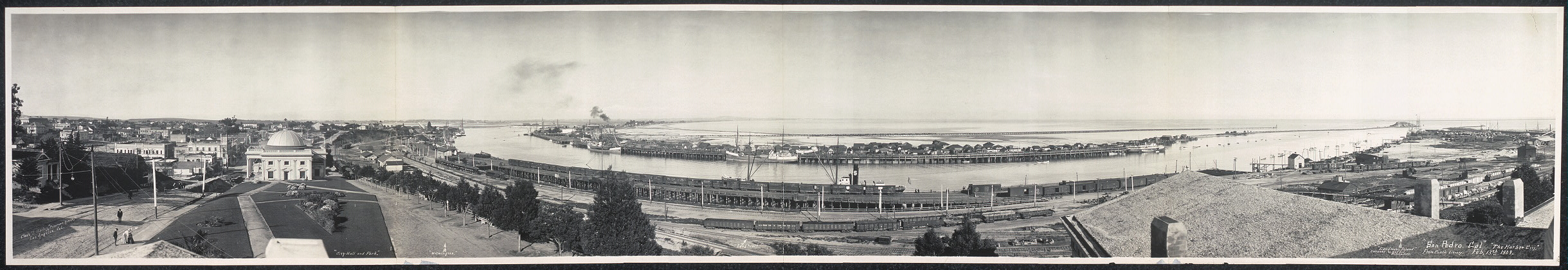 """San Pedro, Cal."", ""The Harbor City"", from public library, Feb. 13th, 1909"