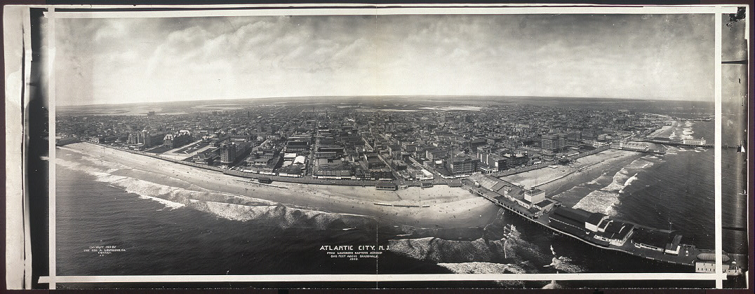 Atlantic City, N.J. from Lawrence Captive Airship, 800 feet above boardwalk, 1909