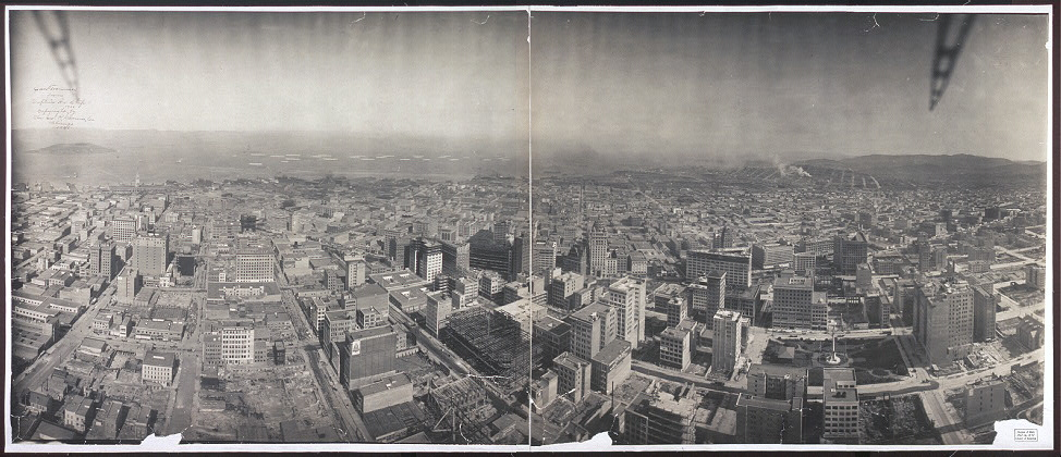 San Francisco from captive airship, 1908