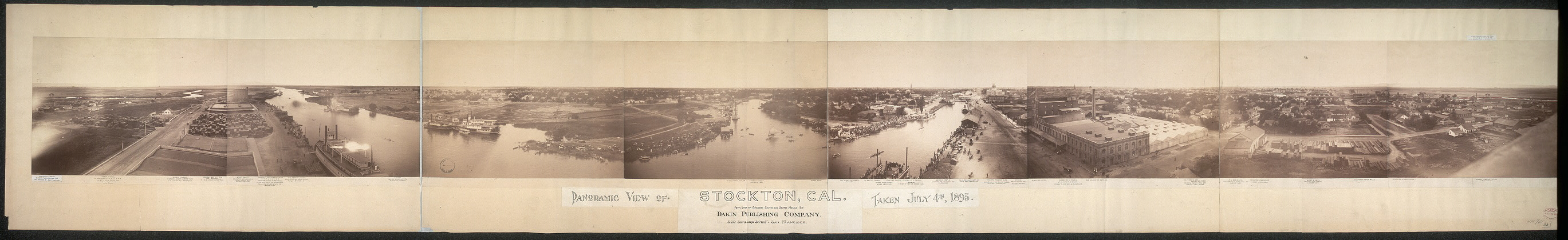 Panoramic view of Stockton, Cal., taken July 4th, 1895 from roof of Golden Gate and Union Mills