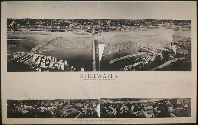 Stillwater from Tribune Tower at Houlton, Wis., Aug. 11, 1902 ; Stillwater, from Irish Catholic Church steeple on South Third Street, Aug. 7, 1902