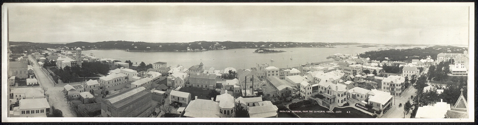 Hamilton, Bermuda, from the Cathedral tower, east