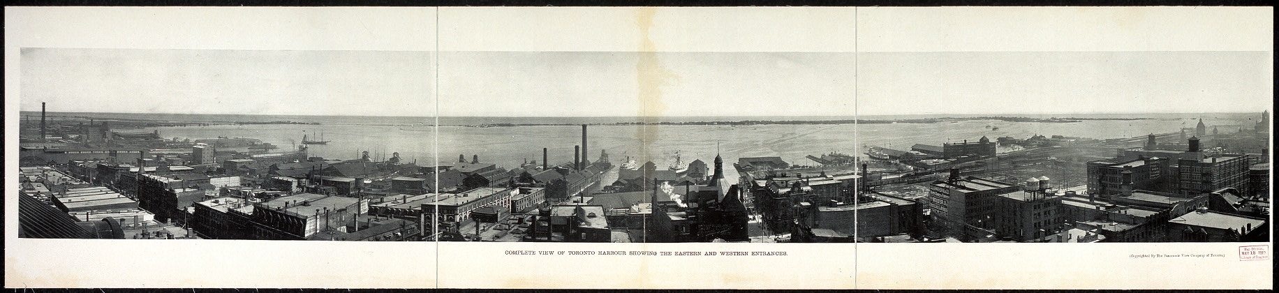 Complete view of Toronto harbour showing the eastern and western entrances
