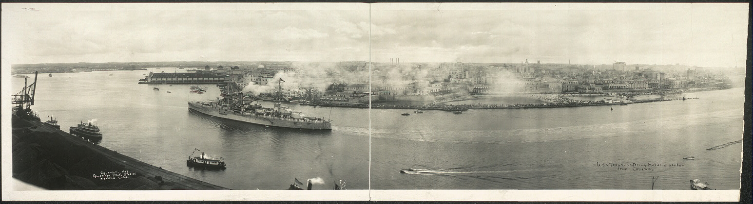U.S.S. Texas entering Havana Harbor from Cabanas