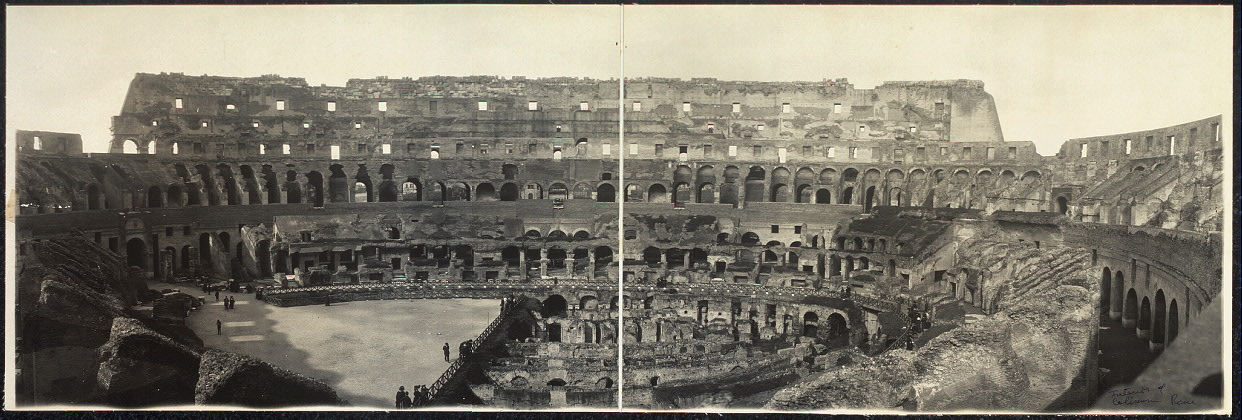 Panoramic view of interior of Coliseum, Rome