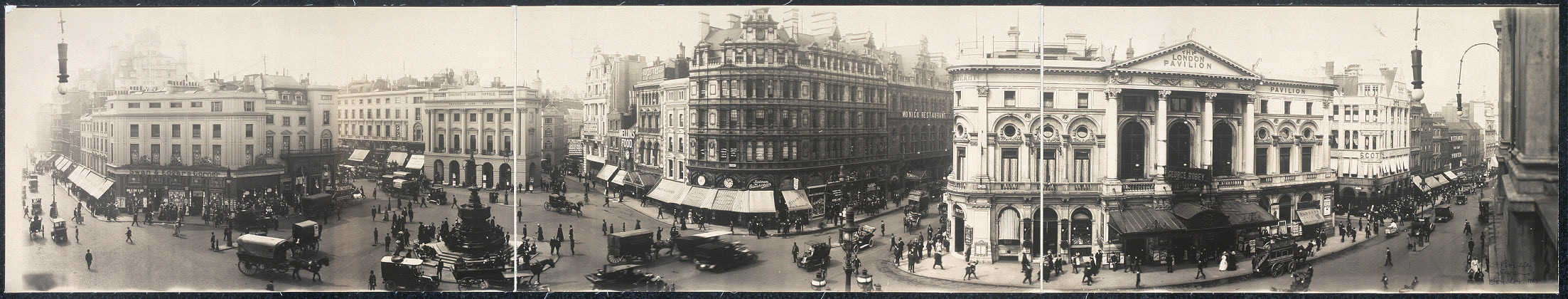 [Panoramic view of Piccidily [sic] Circus, London]