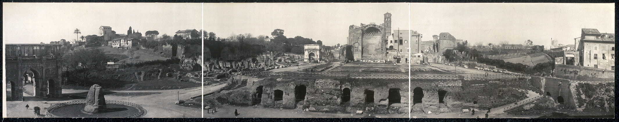 Panoramic view from Coliseum showing Arch of Constantine, Nero's Temple & Arch of Titus