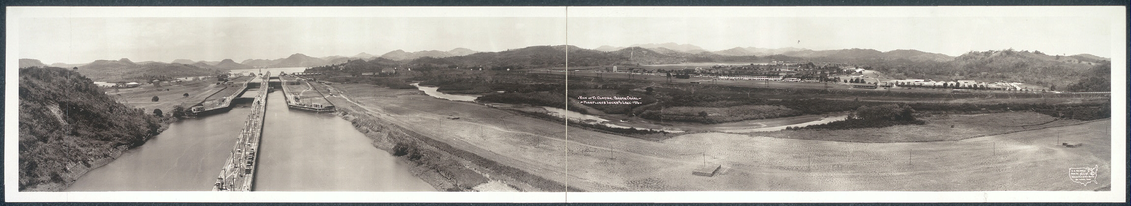 View of Ft. Clayton, Panama Canal, Miraflores Lock and Lake, 1936