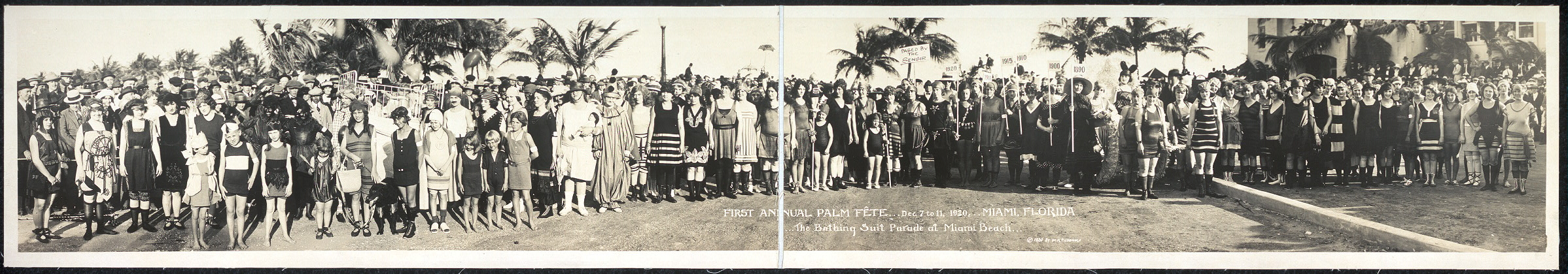 First Annual Palm Fete, Dec. 7 to 11, 1920, Miami, Florida; The Bathing Suit Parade at Miami Beach