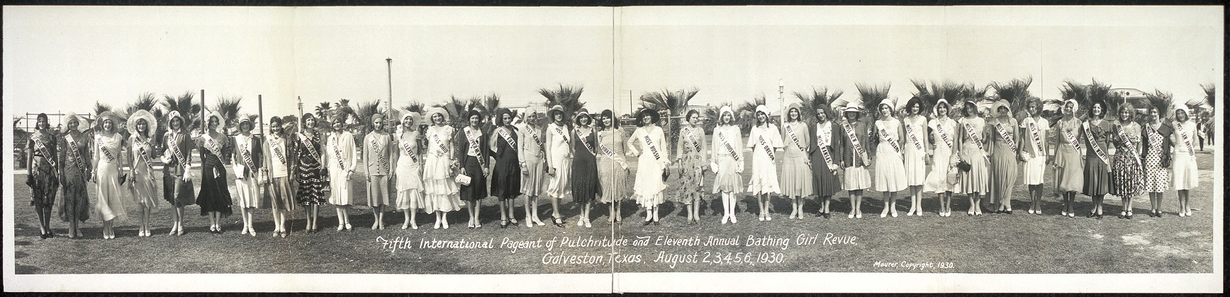 Fifth International Pageant of Pulchritude and Eleventh Annual Bathing Girl Revue, Galveston, Texas, August 2, 3, 4, 5, 6, 1930