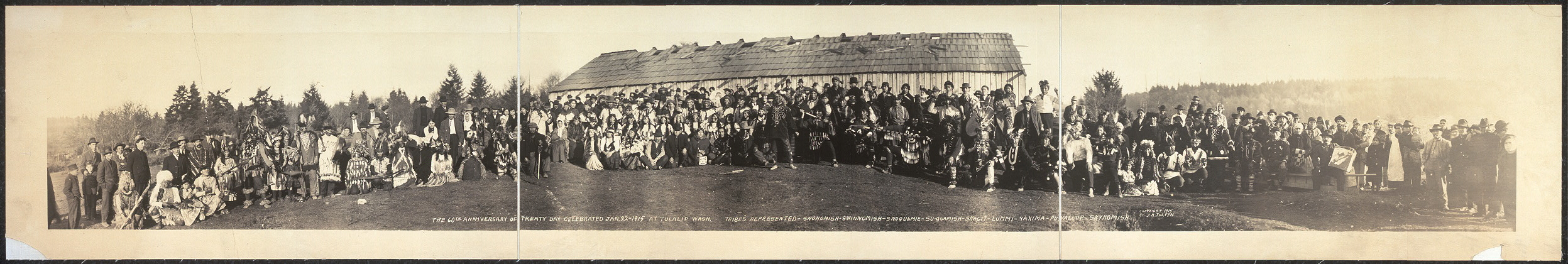 The 60th anniversary of Treaty Day celebrated Jan 22, 1914 at Tulalip, Wash. Tribes represented: Snohomish, Swinnomish, Snoqulmie, Su-Quamish, Skagit, Lummi, Yakima, Puyallup, Skykomish
