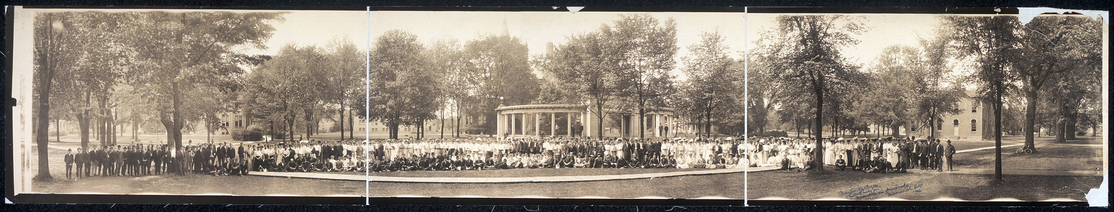 Oberlin College scene, student body & faculty in front of Memorial Hall, 1906