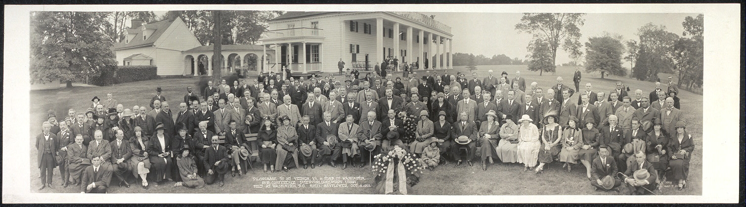 Pilgrimage to Mt. Vernon, Va. & Tomb of Washington, 23rd Conference, Interparliamentary Union held at Washington, D.C., Hotel Mayflower, Oct. 6, 1925