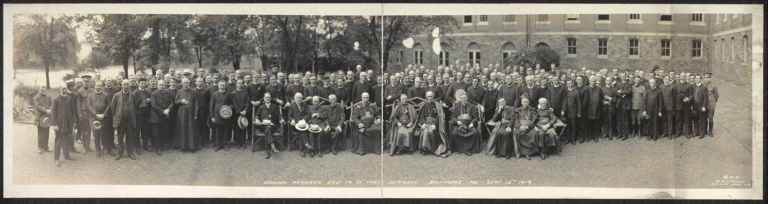 Cardinal Mercier's visit to St. Mary's Seminary, Baltimore, MD, Sept. 12th, 1919