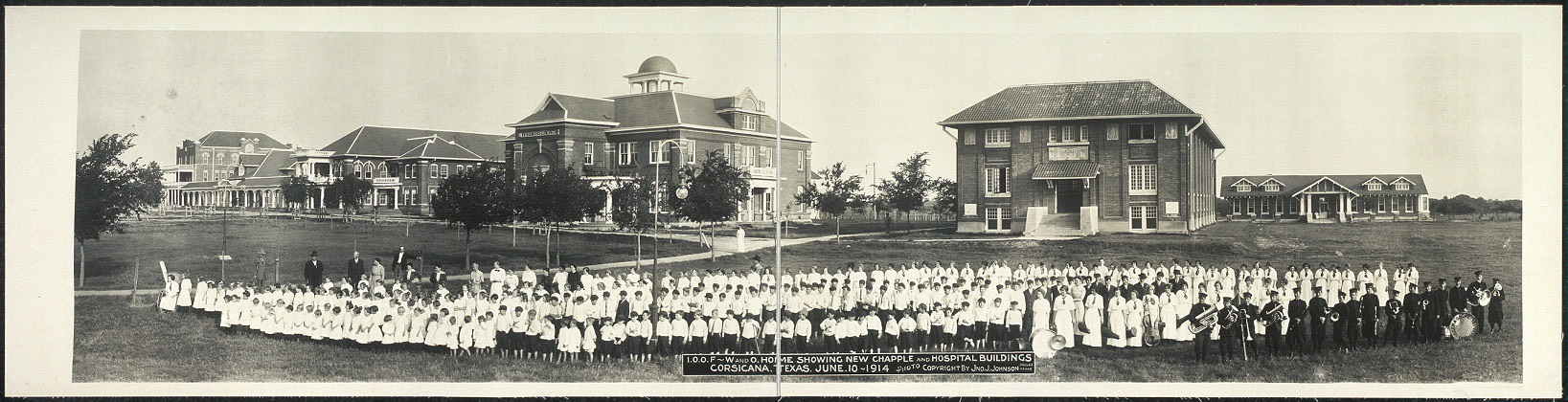 I.O.O.F., W. and O. Home showing new chapple [sic] and hospital buildings, Corsicana, Texas, June 10, 1914