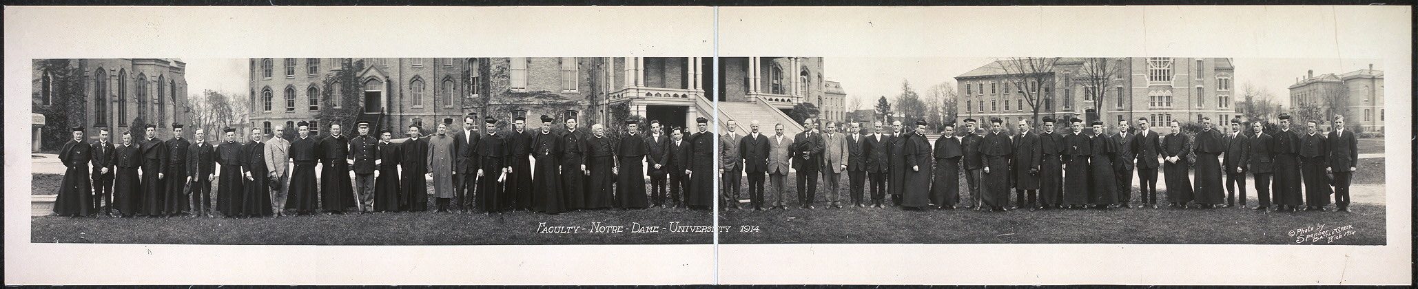 Faculty, Notre Dame University, 1914; image from the Library of Congress Prints and Photographs Division