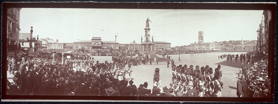 [Panoramic photo of Ancient & Honorable Artillery Company parading at Exchange Place Providence R.I., Oct. 3, 1903]