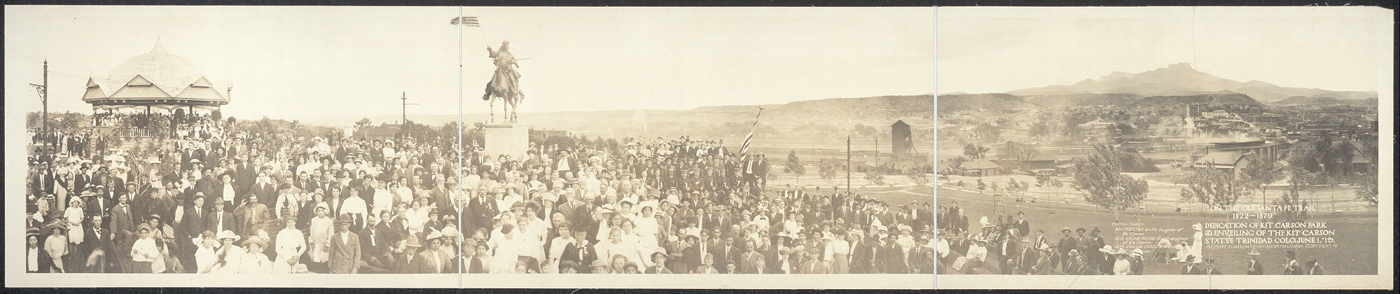 """On the Old Santa Fe Trail, 1822-1879""; dedication of Kit Carson Park & unveiling of the Kit Carson Statue, Trinidad, Colo., June 1, '13"