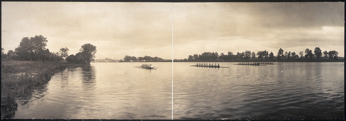 [Four eight-oared shells on Carnegie Lake, Princeton, N.J.]