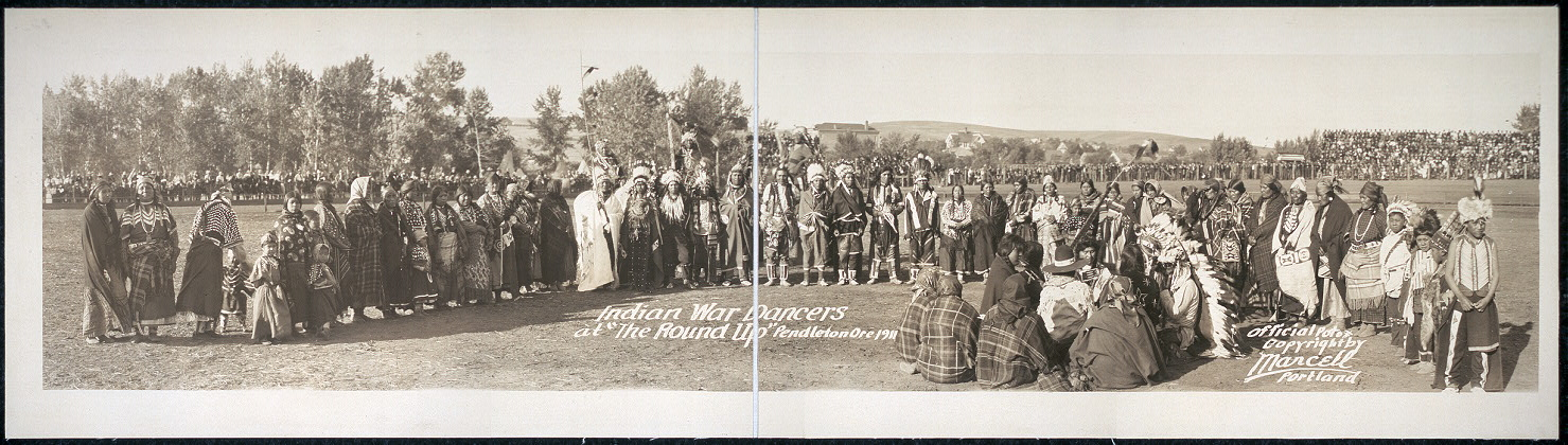 "Indian War Dancers at the ""Round-Up"", Pendleton, Ore., 1911"