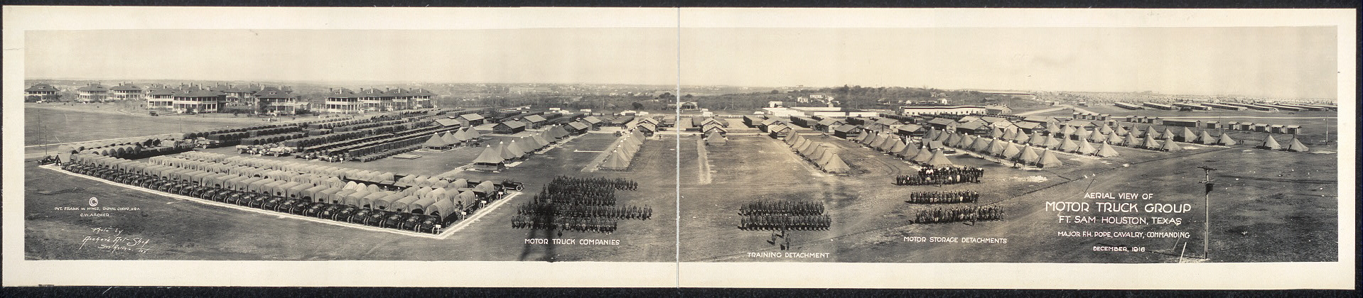 Aerial view of Motor Truck Group, Ft. Sam Houston, Texas, Major F.H. Pope, Cavalry, commanding, December, 1916