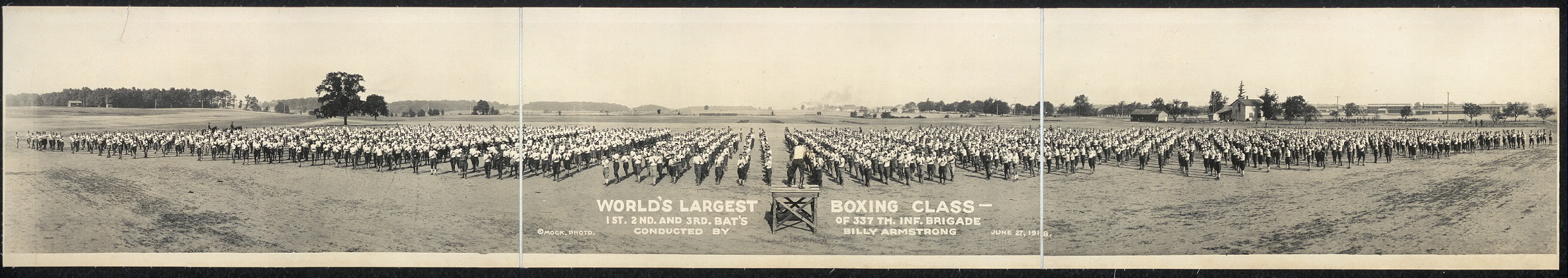 World's largest boxing class, 1st, 2nd and 3rd Bat's. [sic] of 337th Inf. Brigade conducted by Billy Armstrong, June 27, 1918