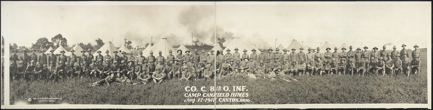 Co. C, 8th O. Inf., Camp Canfield Himes, Aug. 17, 1917, Canton, Ohio
