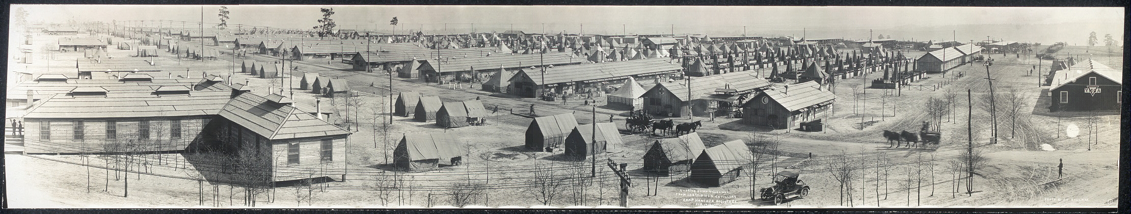 Looking down Tyler Ave. from 108th Field Artillery, Camp Hancock, Augusta, Ga., Feb. 1918