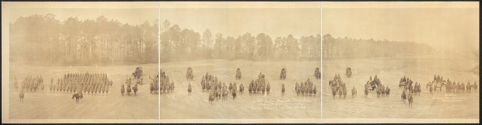 106th Field Signal Battalion, Major C.W. Saso, commanding, Camp Wheeler, Ga., Feb. 9th, 1918