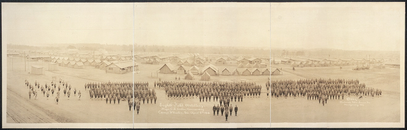Eighth Field Artillery, Major C. L. Corbin, commanding, Camp Wheeler, Ga., April 6th, 1918