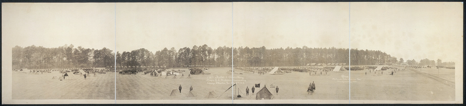 116th Field Artillery, Major E.L. Anderson, commanding, Camp Wheeler, Ga., Ap. 6th, 1918