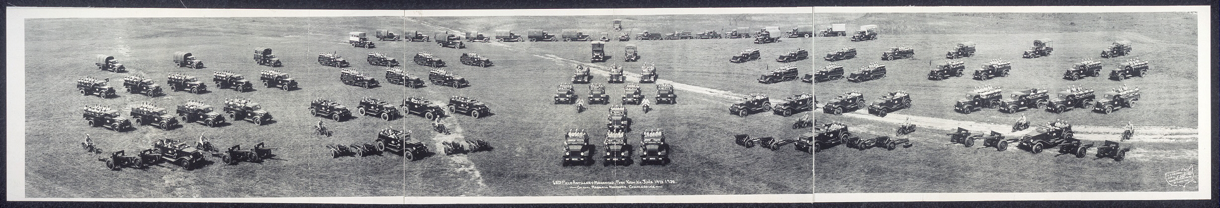 68th Field Artillery mechanized, Fort Knox, Ky., June 14th, 1938, Colonel Marshall Magruder, commanding